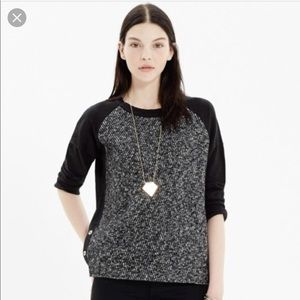 Madewell Tweed Front Black Pullover Sz Medium